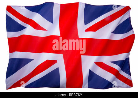 Flag of the United Kingdom of Great Briain and Northern Ireland. White background for cut out. - Stock Image