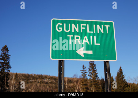 Gunflint trail sign in Grand Marais, Minnesota. - Stock Image