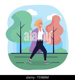 fun woman with smartphone technoogy and trees vector illustration - Stock Image