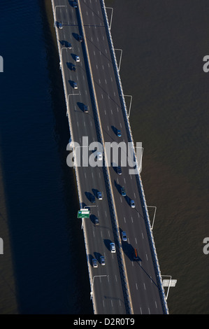 Aerial view of the Captain Cook Bridge, Brisbane QLD Australia - Stock Image