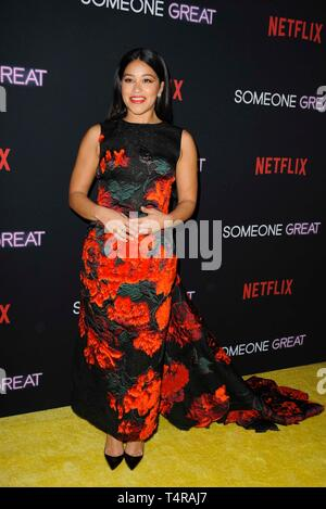 Los Angeles, CA, USA. 17th Apr, 2019. Gina Rodriguez at arrivals for SOMEONE GREAT Premiere on NETFLIX, ArcLight Hollywood, Los Angeles, CA April 17, 2019. Credit: Elizabeth Goodenough/Everett Collection/Alamy Live News - Stock Image