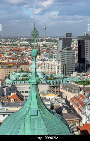 Vienna Skyline, view of the northern skyline of Vienna pictured from the south tower of the city's Stephansdom cathedral, Wien, Austria. - Stock Image