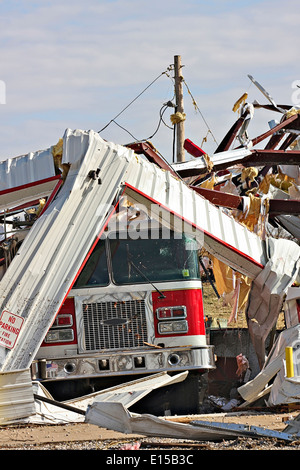 Fire station, truck, destroyed by tornado - Stock Image