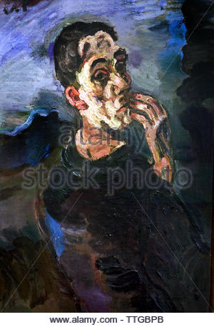 Self-Portrait, One Hand Touching the Face 1918  by Oskar Kokoschka born 1886 Austria Austrian (expressionistic portraits and landscapes) - Stock Image