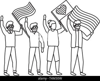 homosexual proud gay men at protest holding lgtbi flag cartoon vector illustration graphic design - Stock Image