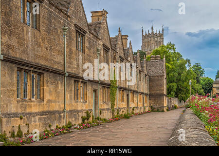 Row Of Terrace Cottages, Chipping Campden, Gloucestershire, England, UK - Stock Image