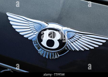 Monte-Carlo, Monaco - June 16 2019: Famous Bentley Winged 'B' Logo (Emblem) On The Bonnet Of A Luxury British Black Car At Monte-Carlo, Monaco. Close - Stock Image
