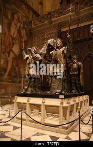 Tomb of Christopher Columbus, 1891. Sculptor: Arturo Melida.Cathedral of Seville. Spain. - Stock Image