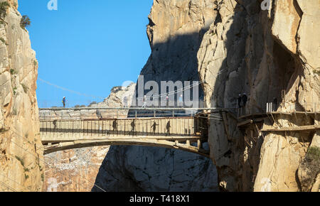 Visitors on the El Caminito del Rey or The King´s Walkway. The walkway is built into the side of the gorge of El Chorro in the Desfiladero De Los Gait - Stock Image