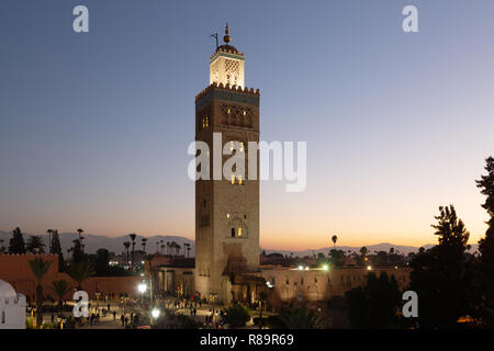 Koutoubia Mosque Marrakech Morocco, at sunset, Marrakesh Morocco North Africa - Stock Image