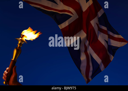 Olympic Torch with Union Jack at Dusk - Stock Image