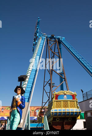 The Pirate Ship, a huge swinging gondola ride at The Pleasure Beach in Great Yarmouth, Norfolk, England, UK - Stock Image