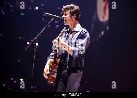 Shawn Mendes performing at The 02 Arena. London on the 16th of April 2019. UK Tour - Stock Image
