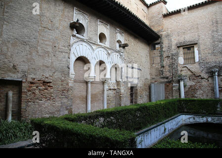 Spain. Seville. Alcazar of Seville. Patio del Yeso, 12th century. Part of old Almohad palace. North portico. - Stock Image