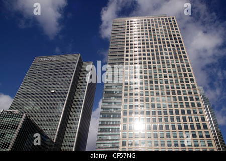 Office Buildings Docklands London view from South Quay - Stock Image