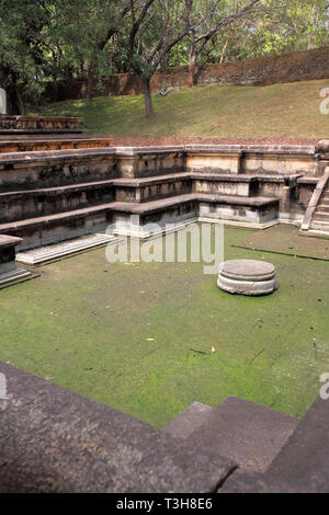 the baths in the ruins of the  royal palace of king pararamabahu in polonnaruwa archaeology park in the cultural triangle of sri lanka - Stock Image