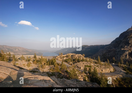 Old Higway 40 and Donner Lake in the Sierra Nevada Mountains, Nevada County, California, USA - Stock Image
