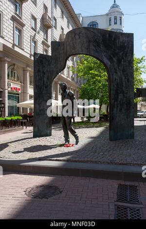 Arbat, The monument to Bulat Okudzhava,Moscow Russia - Stock Image