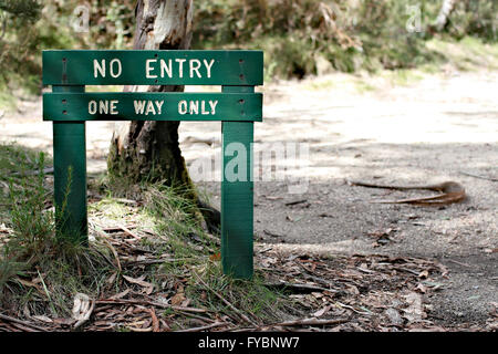 Wooden NO ENTRY, ONE WAY ONLY sign with background of road and bush. - Stock Image