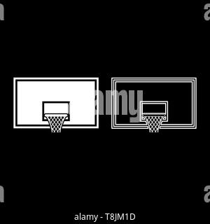 Basketball backboard Basketball hoop on backboard icon outline set white color vector illustration flat style simple image - Stock Image