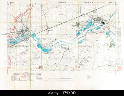 Fampoux Battlefield Map, 1917 Edition 3A 1:10,000 military map of the British sector Est of Arras in Northern France, - Stock Image
