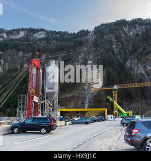 Construction site of the new funicular from Schlattli to Stoos, Switzerland. The funicular has a maximum gradient - Stock Image