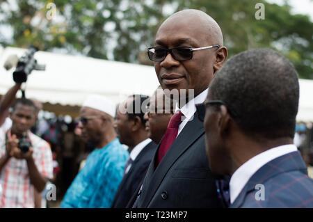 Abidjan, Ivory Coast - August 3, 2017: Authorities and guest standing in a row while waiting for the opening of the ceremonial presentation of the sho - Stock Image