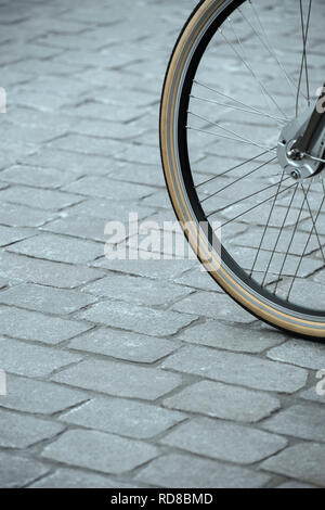 Detail of the front wheel of a bike - Stock Image