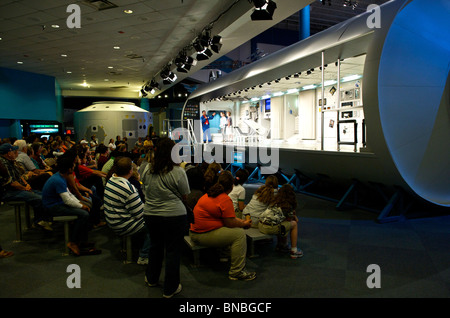 Demonstration on living inside the space station, Space centre, Houston Texas, U.S.A - Stock Image