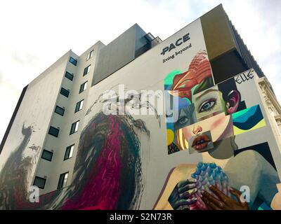 High rise apartments with street art mural - Stock Image