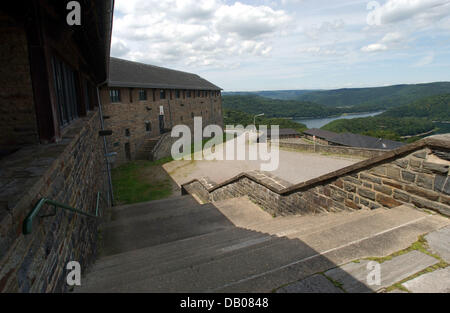 The picture shows a stair set at the Ordensburg Vogelsang castle at the Eiffel national park, Gemuend, Germany, - Stock Image