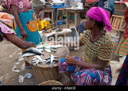 Market woman in a small fishing market in the fishing quarter of Winneba Ghana - Stock Image