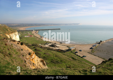 Newhaven Harbour from Castle Hill Chalk Cliffs, Newhaven, East Sussex, UK - Stock Image