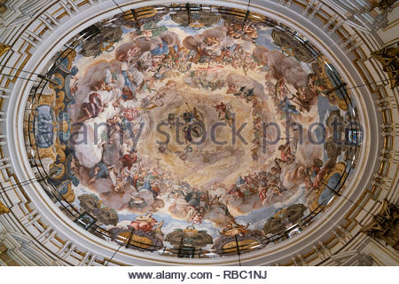 Spain The painted ceiling of the Basilica of the Virgin in Valencia - Stock Image