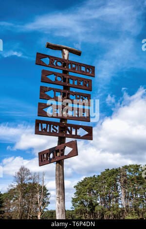 Germany, Schorfheide Game Reserve, Wildpark Schorfheide,Sign post in  Wildlife park for local fauna & domestic animals under threat of extinction - Stock Image