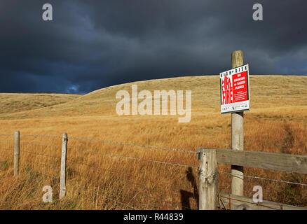 Sign warning about fire danger on moorland, Holme Moss, West Yorkshire, England UK - Stock Image