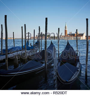 View of the Church at San Giorgio Maggiore from the gondola moorings at St Marks: Venice, Italy. - Stock Image