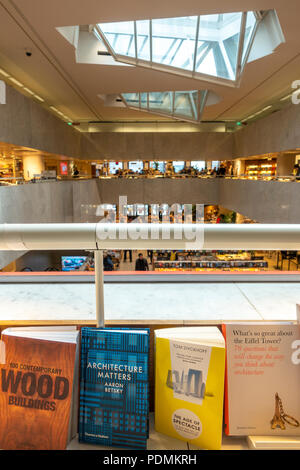 Books on Architecture on display in the Helsinki Academic Bookstore, Akateeminen Kirjakauppa, a building by Alvar Aalto. - Stock Image