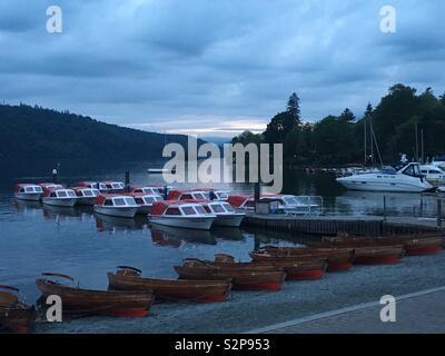 Lake Windermere at dusk. - Stock Image
