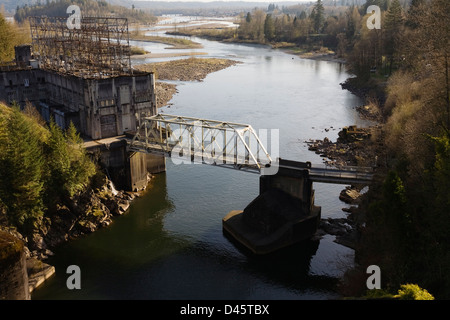 Ruskin Dam Powerhouse and the Stave River below Hayward Lake Reservoir and above the Fraser River, Mission, BC, - Stock Image