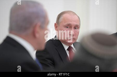 Moscow, Russia. 27th Feb, 2019. Russian President Vladimir Putin during a bilateral meeting with Israeli Prime Minister Benjamin Netanyahu at the Kremlin February 27, 2019 in Moscow, Russia. Credit: Planetpix/Alamy Live News - Stock Image