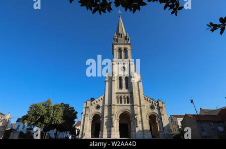 Church located in the city of Argenteuil and named Basilique Saint Denys. France. - Stock Image