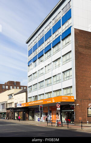 The Cube student accommodation building on Bradshawgate, Bolton. Student apartments over retail units on the ground - Stock Image