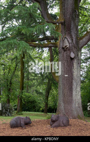 Wombat sculptures nestled below a mature tree in the 19th century Wombat Hill Botanic Gardens, Daylesford, Victoria - Stock Image