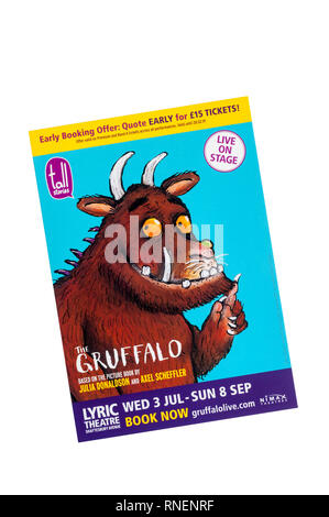 Promotional flyer for The Gruffalo, at the Lyric Theatre. Based on the book by Julia Donaldson & Axel Scheffler. - Stock Image