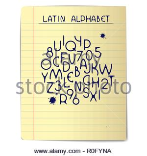 Page from school notebook - Stock Image