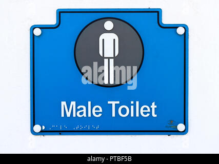 A Male Toilet sign for public conveniences at the beach access at West Runton, Norfolk, England, United Kingdom, Europe. - Stock Image