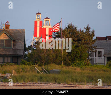 Range lights on Nantucket, MA. The photo is taken from slightly to one side. When they are aligned and one light is above the other, a vessel knows th - Stock Image