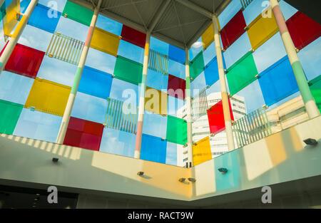 Inside the Cube, Centre Pompidou Malaga, Pop up museum, Malaga, Andalusia, Spain. - Stock Image