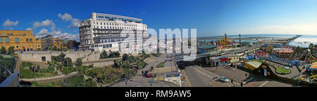 Colour Southend-on-sea seafront panorama, wide image frm beach to town centre, Essex, South East England, UK, SS1 2EJ - Stock Image